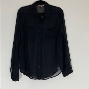 Decree Sheer Black Long Sleeve Blouse L